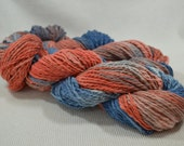 SALE Hand Dyed Organic Cotton Blue, Red, and Gray OOAK Multi Solid Quest by Yarn Hollow 4 ounces 162 Yards Huge Skeins