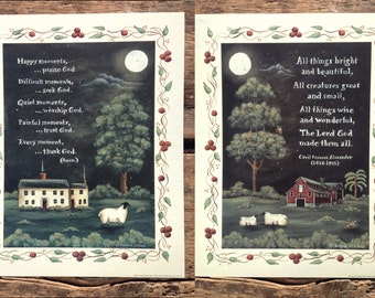 Thank God and All Things Bright & Beautiful. Spiritual Folk Art Pastoral Sheep Prints by Donna Atkins. New England style folk art. Barn Moon