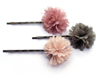 Pretty Pink Hair Pins, Pink Pom Pom Tulle Bobby Pin Set, Floral Bobby Pins, Hair Pins, SWEET ROMANCE