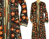 70s Embroidered Indian Duster / Vintage 1970s Long Cotton Jacket with Hand Embroidery / Hippie Boho Ethnic Tribal Bohemian Layering Kimono