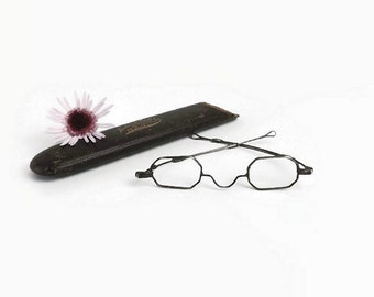 Antique Rectangular Spectacles with Case, Vintage Eyeglasses, One Lens, Steampunk Decor