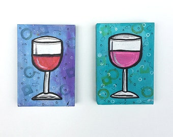Wine Art - Wine Glasses Art, Red and Rose, Pair of Small Mixed Media Paintings for Wine Lover, Wine Time, Kitchen, Dining Room, Whimsical