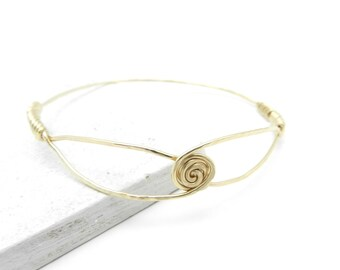 Brass Bangle Bracelet, Hammered Brass Bangle, Minimalist Jewelry, Brass Rose Bangle, Flower Bracelet, Brass Jewelry, Made by Durango Rose