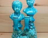 Blue Ceramic Cherub Busts Arms Dog