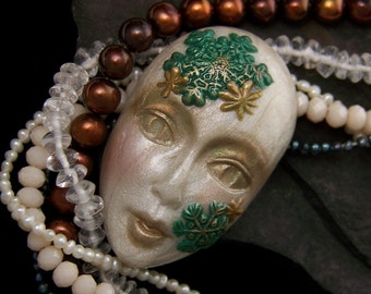 Frosty Winter Snowflake Lady Face Cab Christmas Green, Pearl, Gold, polymer clay