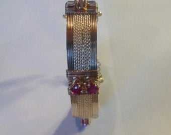 1 ct. Ruby and 14K Gold Filled Wire Wrapped Bracelet