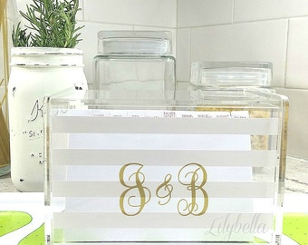 Personalized Recipe Box - Custom Recipe Box - Acrylic Recipe Box - Monogrammed Recipe Box - Acrylic Storage Box - Recipe Storage Box