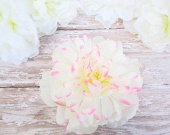 White and Pink Peony Hair Clip, Shabby Chic Hair Flower, Peony Hair Clip, White and Pink Flower