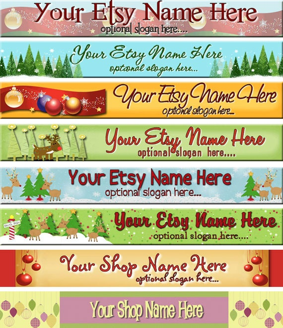 Bright Scrapbook Elements Christmas Trees Owls Reindeer - Premade Etsy Shop Banner - SHOP ICON - Raggedy Dreams Designs
