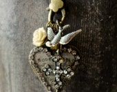 Vintage 40s French Heart Pharmacy Charm Cluster Cross - Crystal Wrapped Repurposed Assemblage Necklace Pendant