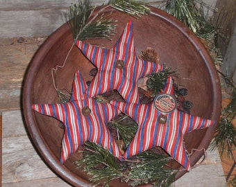 3 - Primitive - Patriotic - Americana - America the Beautiful - USA - July 4 - Stripe - Stars - Ornies - Ornaments - Bowl Fillers - Tucks