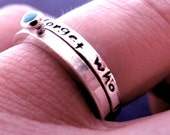 Hand Stamped Inspirational Stacking Ring Set with Turquoise in Sterling Silver - I will Never Forget Who I AM