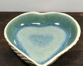 Aqua Green Ceramic Heart Bowl with White Lace Bottom Stoneware Clay Pottery Ready to Ship