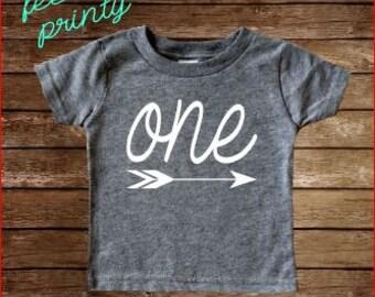 First Birthday Shirt One shirt Birthday Shirt One Arrow Girls Boys Gray Birthday Shirt