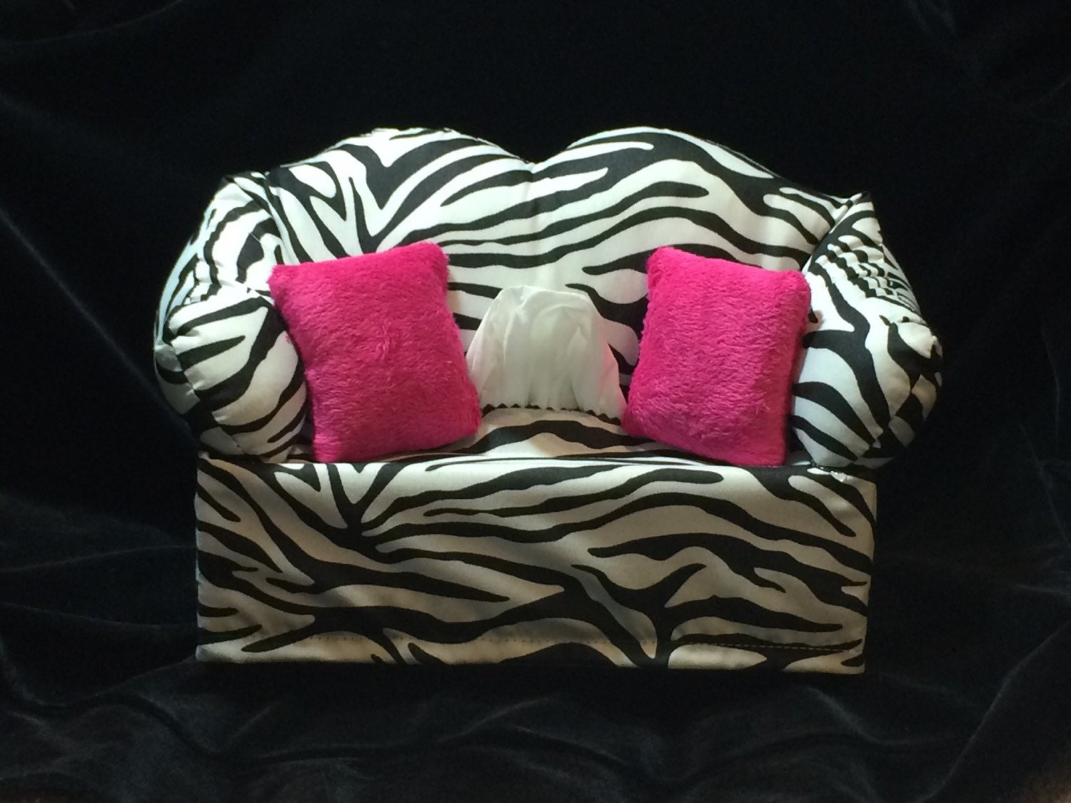 Zebra Print Sofa Tissue Box Cover