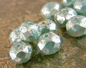 Glitter Mint (10) -Czech Glass Rondelles 8x6mm