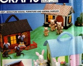 1982 Uncut HOUSE FURNITURE ANIMAL Families Pattern McCalls Crafts #669 Fabric Miniatures Bear Mice Rabbit Vintage Sewing Gray Mountain Goods