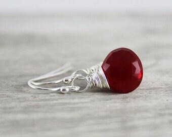 Apple Red Earrings, Quartz Gemstone Earrings, Bright Red Earrings, Small Drop Earrings, Sterling Silver Earrings, Wire Wrap Earrings