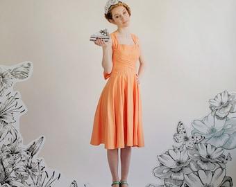 Sample SALE Coral Orange Sherbet Vintage Style  Knee Length Wrap Dress with Full Circle Skirt OOAK size 2
