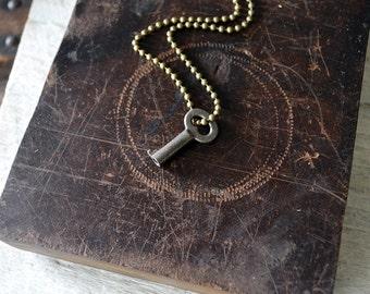 Miniature Antique Skeleton Key Necklace - Key To My Heart Necklace - Vintage Tiny Key Necklace - Skeleton Key Pendant