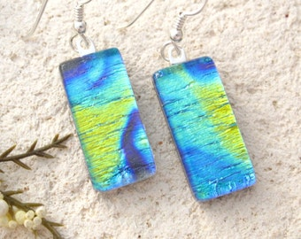 Gold Blue Earrings, Dangle Drop Earrings, Fused Glass Earrings, Dichroic Earrings,  Fused Jewelry, Sterling Silver, Ccvalenzo, 061217e100