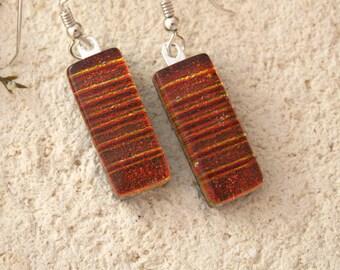 Deep Red Earrings, Dangle Drop Earrings Dichroic Earrings, Red Earrings, Sterling Earrings, Dichroic Jewelry, Fused Glass Jewelry,092916e101