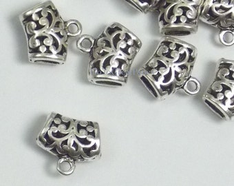 18 Filigree Tube Bails 14mm, Scroll Design, Pierced, antique silver color necklace bail, curved, silvertone arched filligree 14mmx13mmx7mm