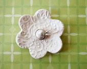 Elegant Ring Holder - White Ring Dish - Raised texture Ring Bowl - Glazed in Soft white