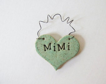 Mimi Ornament - ceramic clay - heart shaped - personalized, handmade, ready to mail, glazed in mint