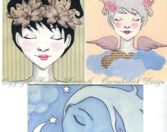 Postcard set - 3 postcards - for any occation - Sleeping beauty