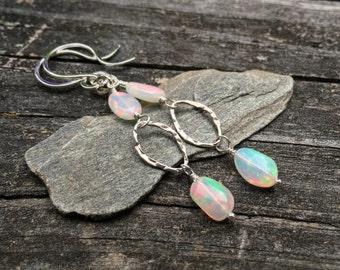 Genuine Opal Gemstone Dangle Sterling Silver Earrings, Welo Opal Nuggets, Wirewrap Handmade Jewelry, Bright Color Fire, Kerri Hale Vermont