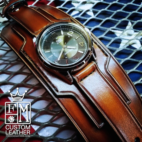 Brown Leather cuff watch Tobacco fade watch band wide cuff leather Bracelet  Handmade for YOU in NYC by Freddie Matara