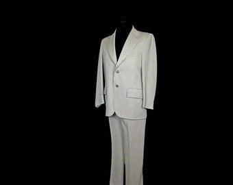 Vintage Men's Suit, 1970's, Green Pin Stripe, Polyester, Wide Lapels, Small/Medium