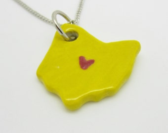 Yellow Ohio Columbus Heart Necklace Glazed Ceramic on an 18 inch Silver Chain