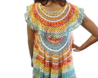Crochet Mandala Circle Vest Bohemian Wrap  Boho Gypsy Shrug Womens  Hippie Clothes