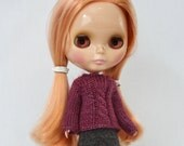 Charis Sweater Blythe fingering weight knitting PATTERN long-sleeved doll cardigan - instant download - permission to sell finished objects