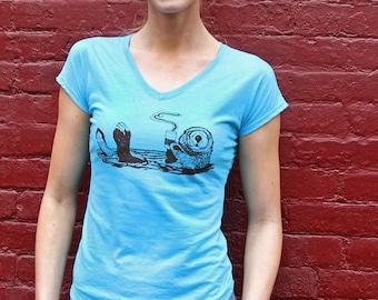 Women Graphic Tee, Women Tee, Coffee Shirt, Coffee Tshirt, Coffee Graphic Tee, Plus Size Tshirt, Coffee Tee, Otter Shirt, Otter Tee