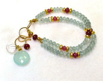 Aquamarine and Ruby Double Strand Bracelet in 22kg vermeil.....