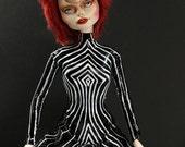 David Bowie Tribute OOAK Art Monster High Skelita Calaveras Head & Twilight Bella Barbie Body Fashion Goth Punk Emo Rock Doll