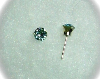 5mm Blue Swarovski Crystal Chatons in 925 Sterling Silver Stud Earrings  SnapsByAnthony