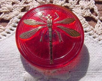 Cabernet Red Golden Dragonfly Czech Glass Button