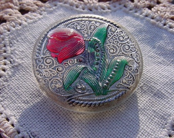 Red Tulip Golden Lace Czech Glass Button