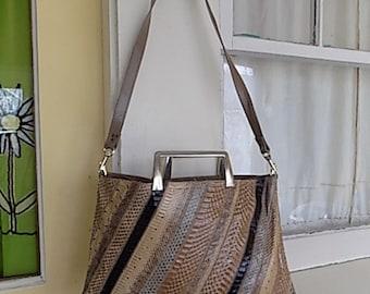 Vintage Snakeskin Purse Tote Briefcase Shoulder Bag Clutch