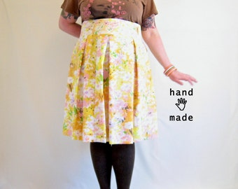 Full Floral Skirt -- plus size, 24W, 3X, xxxl - wide high waistband, full pleats, knee to Midi length - vintage Mod print fabric -- 46W-60H