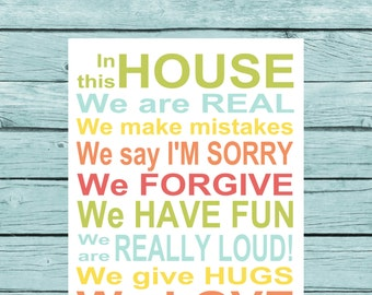 In This House Sign. Family Rules canvas art. Digital canvas art. Colorful family sign. family motto housewarming gift new family sign