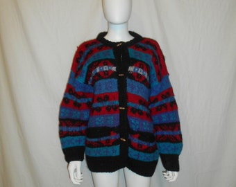 Vintage Wool Cardigan Sweater // Handmade Sweaters //  Thick Sweater // Wood Button Cardigan