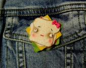 Vegan Cheddar Cheese Sandwich Pin, Brooch or Badge, Felt Food