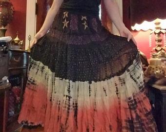 Tie Dye Tiered Broom Skirt, Small Medium Hippie Bohemian