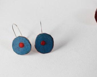 Colorful Blue and Red Dot Earrings - Geometric Design - Glass Enamel  OOAK