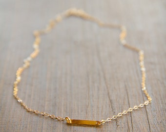 Minimalistic 14k Gold Fill Blank Bar Necklace on a Delicate Chain